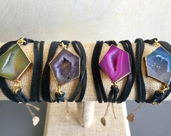 Druzy Wrap Bracelets: pink, blue, green, purple, natural