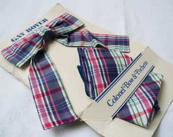 Vintage Gay Boyer New York Bow TIE & POCKET SQUARE Clip On Pochette Cotton Plaid Women's Accessory New on Card
