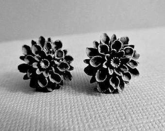 Black Dahlia Stud Earrings