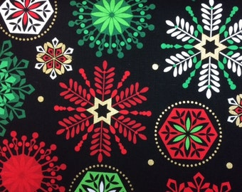 Kanvas DECK THE HALLS (Snowflakes - Black) 100% Cotton Premium Fabric for Quilting - sold by 1/2 yard