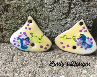 Yellow Purple Floral Design Torched Fired Enamel Charms