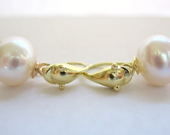 Pearl And 18kt Gold Dolphin Earrings