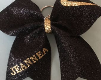 Personalized Nike Glitter Cheer Bow Keychains