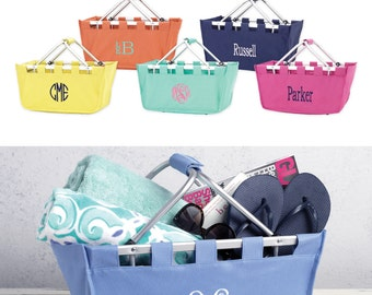 Personalized Market Totes Embroidered Collapsible Basket Name Or Monogram Easter Baskets