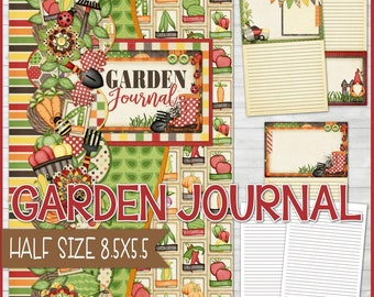 GARDENING JOURNAL, Garden Notebook, Gardner Gift Idea, Gardening Gift, Printable Garden Journal, Half Size 8.5x5.5 - Instant Download