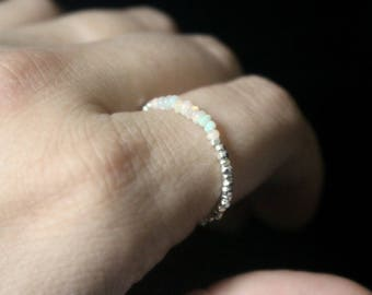 Ethiopian Opal Ring, Natural Opal Ring, Genuine Opal Ring, Beaded Silver Ring, Thin Dainty Silver Ring, Silver Rainbow Stacking Ring
