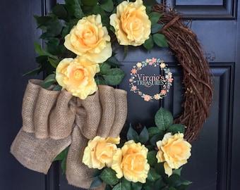 Yellow Rose Grapevine Wreath, Spring Wreath, Summer Wreath, Yellow Roses, Everyday Wreath, Housewarming, Sympathy Wreath