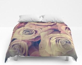 ROSES Comforter, Pink Bedding, Flower bedding, Unique design, Flower Comforter, Lilac, Full, Queen, King, Retro, Vintage, Dorm, Floral