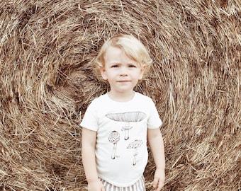 Kids Tshirt - Organic Cotton Toddler Shirt - Organic Kids Shirt - Screenprint Tshirt - Mushroom Toddler Tee - Hipster Kids Clothes