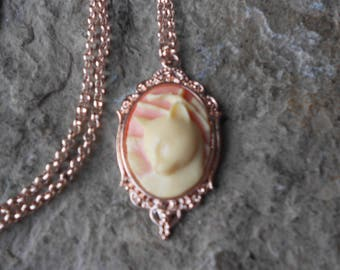 Choose Pink or Blue - Kitty Cat Cameo Rose Gold Tone Copper Pendant Necklace - Unique - Cat Lover Gift