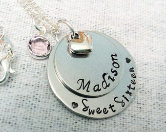 Personalized Sweet Sixteen Necklace, Hand Stamped Name Necklace, Sweet Sixteen Gift, Sweet Sixteen Jewelry, Daughter Jewelry,Birthday Gift