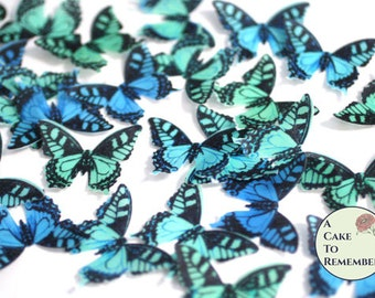 "24 blue and green edible butterflies. 1.5"" across, enchanted forest wedding cake topper, wafer paper butterflies for cupcake decorating."