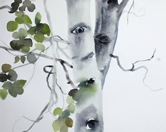 two aspens . original watercolor painting