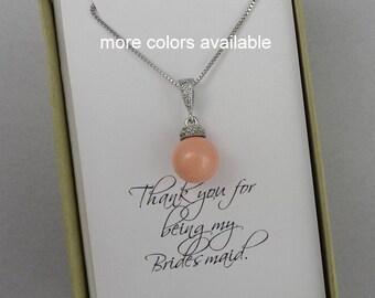 Pink Coral Bridesmaid Necklace, Swarovski Pink Coral Pearl Bridal Necklace, Bridesmaid Gift Necklace, Mother of the Bride Gift Necklace