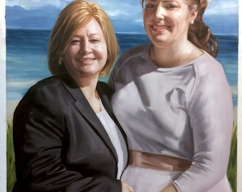Custom couple portraits from photo, large oil painting on canvas. 100% money-back guarantee.