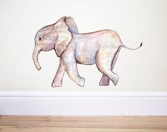 Baby Elephant,Pastel decor,Boho decor,Nursery decor,Elephant stickers,Elephant Wall decal,Elephant family,Nursery decor,Safari Nursery, Art