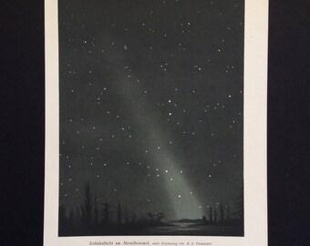 Original Antique Print German 1890s Zodiacal Light Stars Starry Night Sky Color Chromolithograph 1800s