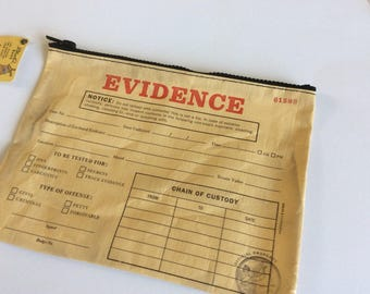 Evidence Zipper Pouch: Blue Q zipper pouch, Journaling pouch, Pen Pouch, Supplies Pouch, Mixed Media, Junk Journal