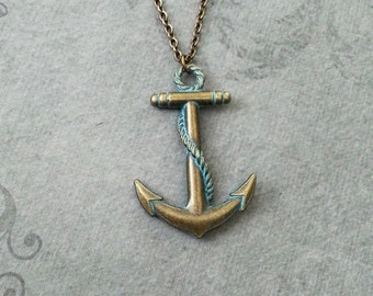 Anchor Necklace Bronze Anchor Jewelry Blue Patina Anchor Charm Necklace Nautical Jewelry Boat Jewelry Anchor Pendant Ship Necklace Brass
