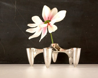 Vintage Silver Plate Candle Holder by Dansk Designs (c.1960s) -  Danish Modern Decor, Mid Century Atomic Decor