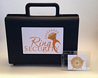 Ring Security Briefcase and Badge (Gold) -- ring bearer gift, pillow alternative, ring bearer, bling security