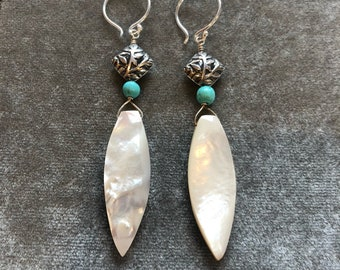 Long mother of pearl drop earrings with Bali silver and turquoise beads
