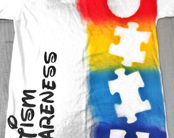 Autism Spray Painted Puzzle Piece T-Shirt: Disney Style