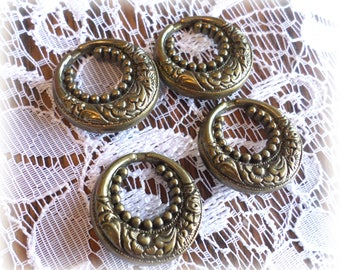 4 Unique Vintage Bronze Look Shank Buttons