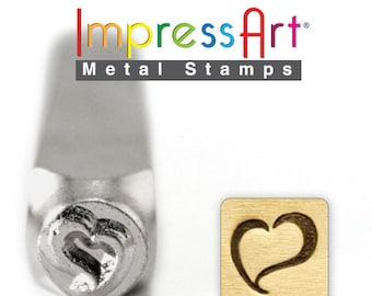 "SWIRLY HEART METaL STaMP 6mm 1/4"" Steel Punch ImpressArt Stamping Love Tool Jewelry Making Tool"