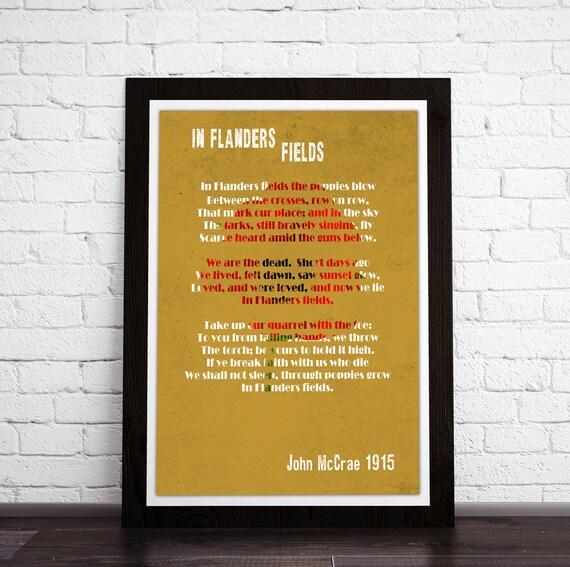 Framed print In Flanders Fields Poem John McCrae. Poem