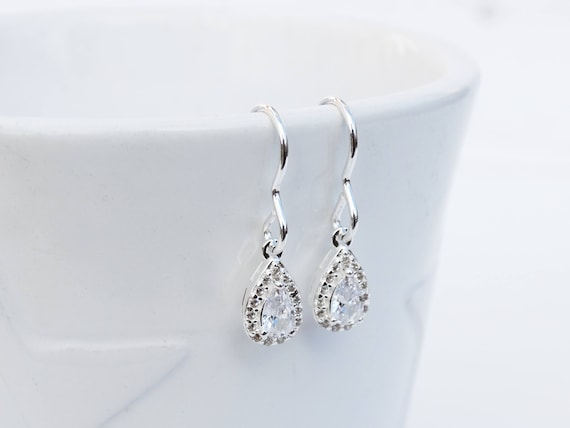 Silver & Cubic Zirconia Drop Earrings, Sterling Silver