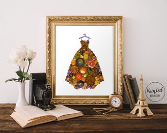 Ball Gown Art PRINT - Fashion Art Print - Fancy Dress Art - Girls Room Decor - Dressing Room Decor - Gifts for Her