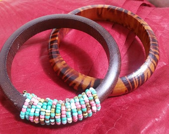 Wooden  beaded  Earrings  with  bangles   Set
