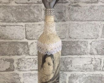 Mother And Baby Altered Bottle, Upcycled Bottle Vintage Ornament, Mothers day