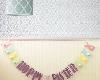 FREE SHIPPING, Hoppy Easter Banner, Home Decor, Cotton Tails