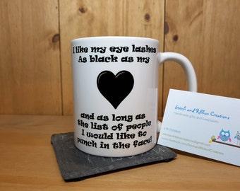 Eyelashes mug. Novelty gift.