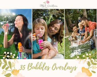 35 Bubbles Overlays, Photoshop overlay, Blowing Soap Bubbles Photography Overlays, Air bubbles Realistic Photo effect Digital backdrop