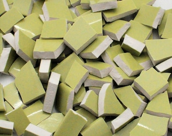 150 Broken China Mosaic Tiles - Solid Apple Green - Smooth Tiles -