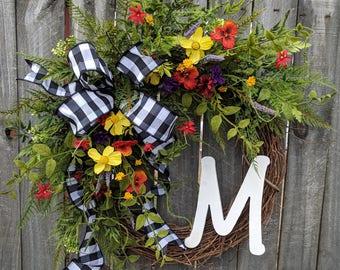 Door Wreath, Large Spring Grapevine Wildflower Wreath, Monogram Spring Front Door Wreath, Wreath for Spring, Summer, Letter Wreath