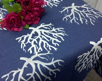 CORAL NAVY TABLECLOTH  choose size 54 x 84, 96, 108,   90x 132, 156 table cloth white and grey coral on navy 100% cotton print