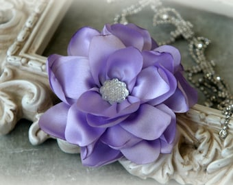 Tresors  Lavender Satin Flowers with Decorative Center, for Headbands, Clothing, Sashes, Crafting, 4 inches across, FL-318