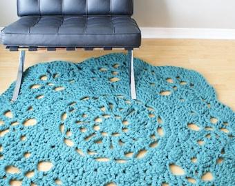 """DIY Crochet PATTERN - Throw Blanket / Rug Super Chunky Doily 8 Styles (30""""-66"""" diameter) (blanket003)"""