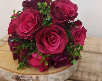Red Rose and greenery Artificial Bridal Bouquet