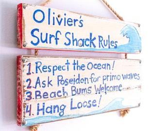Personalized Sign Hand Painted on Reclaimed Wood Surf Decor Beach House Lake House Beach Baby Nursery Kids Room Decor Beach Art Mangoseed