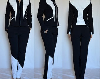 Sale! Tailored asymmetrical trousers, pants navy, ivory, white. Sizes UK 8, 10, 12, 16 / US 4, 6, 8, 12