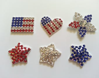 Crystal Red, White & Blue needle minders