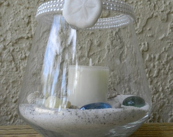 Beach Candle Votive with Pearls, Beach Sand and Seashells
