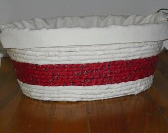 Natural-Color Rag-Wrapped Basket with Liner