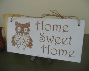 Home Sweet Home Sign, Owl Design Wall Sign, Shabby Wooden Wall Sign, Housewarming Gift