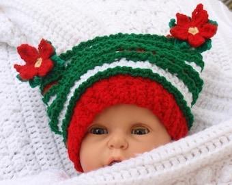 Baby Christmas Poinsetta Hat Crochet Pattern PDF 234